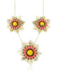 Les Nereides - Gypsunset 3 Suns Pink And Yellow Necklace - Lyst