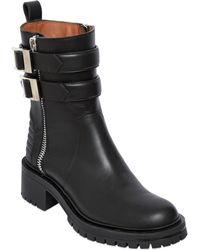 Givenchy 30Mm Buckled Leather Biker Boots - Lyst
