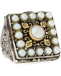 Konstantino - Pearl Square Scroll Ring - Lyst