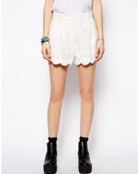 Mink Pink Scalloped Lace Shorts - Lyst