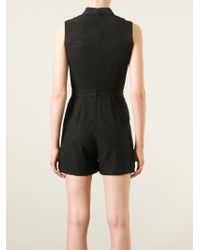 O'2nd - Band Collar Textured Playsuit - Lyst