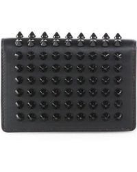 Christian Louboutin Milos Spiked Leather Foldover Wallet - Lyst