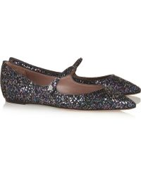 Tabitha Simmons Hermione Glitterfinished Leather Pointtoe Flats - Lyst