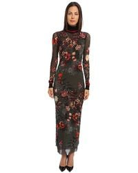 Jean Paul Gaultier Floral Tulle Ankle Length Turtleneck Dress - Lyst