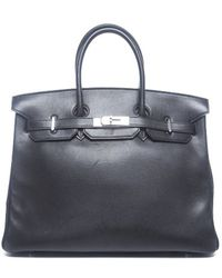 Hermes Pre-Owned Black Evergrain Leather Birkin 35 Bag - Lyst
