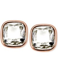 Michael Kors Rose Gold-Tone Crystal Stud Earrings pink - Lyst