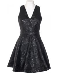 MSGM Dress In Canvas Coated With Relief Printing black - Lyst