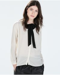 Zara Shirt with Bow Collar - Lyst