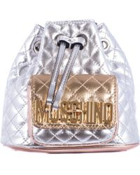 Moschino Silver Stitched Leather Mini Backpack silver - Lyst