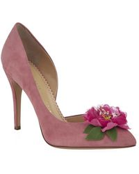 Charlotte Olympia Vamp In Bloom Suede Pump - Lyst