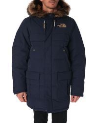 The North Face Oyun Premium Navy Parka With Imitation Fur Removable Collar - Lyst