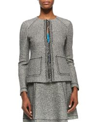 Nanette Lepore Take-a-journey Tweed Jacket With Chain Placket - Lyst