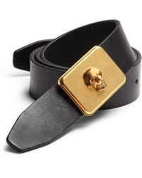 Alexander McQueen Skull Buckle Leather Belt - Lyst