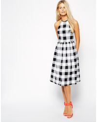 Asos Midi Skater Dress in Gingham - Lyst