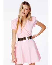Missguided Jasmyne Baby Pink Cross Over Belted Skater Dress - Lyst