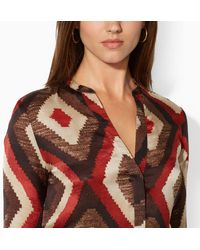 Lauren by Ralph Lauren Silk Patterned Blouse - Lyst