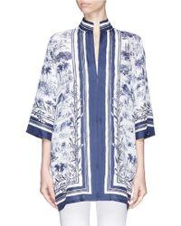 Tory Burch 'Frenesi' Landscape Stripe Print Silk Cabana Jacket blue - Lyst