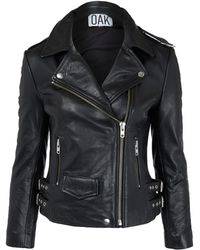 Oak Black Leather Biker Jacket - Lyst