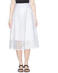Erdem 'Mina' Broderie Anglaise Midi Skirt white - Lyst