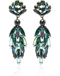 Carole Tanenbaum - S Sherman Aurora Borealis Green and Blue Dangly Navette Earrings - Lyst