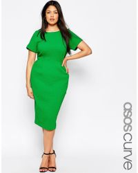Asos Curve Midi Wiggle Dress In Texture - Lyst