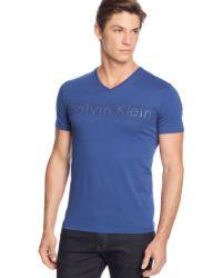 Calvin Klein Logo Print V-neck T-shirt - Lyst