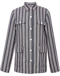 Suno Linen Stripe Patch Pocket Jacket - Lyst