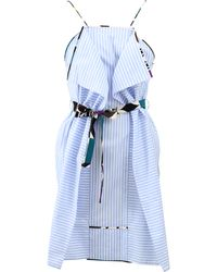 MSGM Striped Ruffle Dress blue - Lyst