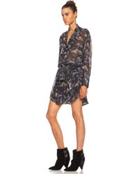 Isabel Marant Carla Printed Georgette Belted Silk Dress - Lyst