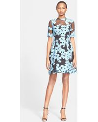 Lela Rose Elbow Sleeve Fil Coupe Dress blue - Lyst