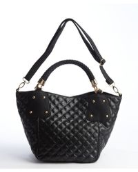 Big Buddha Black Snake Embossed Faux Leather Studded Top Handle Tote Bag - Lyst