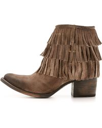 Freebird by Steven | Belle Fringe Booties - Grey | Lyst