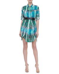 Halston Heritage Linen Long-sleeve Shirtdress - Lyst