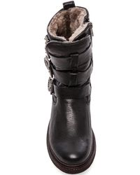 Frye Valerie Shearling Strappy Boot - Lyst