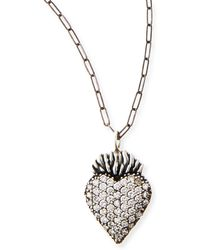 Katie Design Jewelry - Black Burning Heart Charm Necklace - Lyst