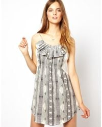 By Zoé Printed Mini Dress With Ruffle Front - Lyst