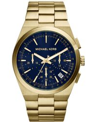Michael Kors Men'S Chronograph Channing Gold-Tone Stainless Steel Bracelet Watch 43Mm Mk8338 - Lyst