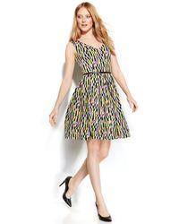 Calvin Klein Geo-Print Belted Scuba Dress - Lyst