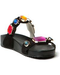 Sophia Webster Black Jeweled Sandals - Lyst