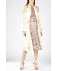 BCBGMAXAZRIA Camira Halter-Neck Pleated Color-Blocked Dress - Lyst
