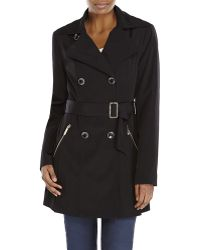 Ivanka Trump Black Double-Breasted Belted Trench Coat - Lyst