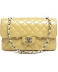 Chanel Pre-Owned Yellow Patent Leather Small Double Flap Bag - Lyst