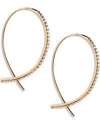 Lana Jewelry Fatale Small Upside Down Hoops with Diamonds - Lyst
