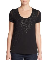 Elie Tahari Knit-front Silk-back Embellished Top - Lyst