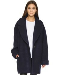 Nicholas - Brushed Wool Oversized Coat - Navy - Lyst
