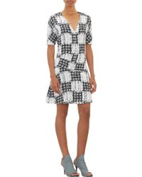 Balenciaga Scribblecheck Silk Dress - Lyst