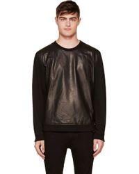 Blk Dnm Black Leather_paneled Sweatshirt - Lyst