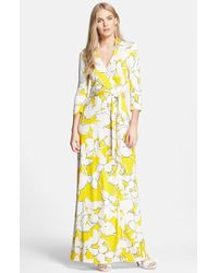 Diane von Furstenberg 'Abigail' Floral Print Silk Wrap Dress - Lyst