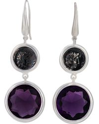 1884 Collection - Legacy Vivace Silver Coin & Amethyst Double-drop Earrings - Lyst
