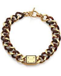 Michael Kors Tortoise-Print Plaque Toggle Chain Necklace - Lyst